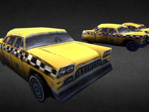 Checker Taxi Low Poly PSX