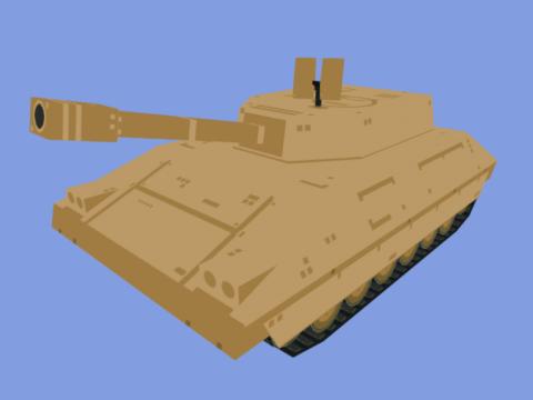 Low poly 3D tank model