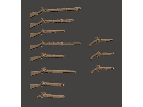 28mm Fantasy Arsenal of Muckets Percussion / Flintlock Firearms and Guns
