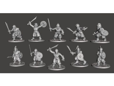 28mm - Orc / Goblin / Hobgoblin Miniatures x 10 With Swords Set1