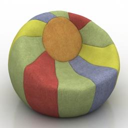 Armchair Kids pouf bag Chamomile 3d model download