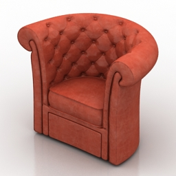 Armchair red 3d model