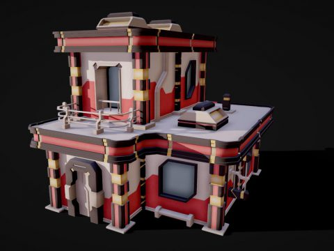 Modular Lowpoly Sci-Fi Building