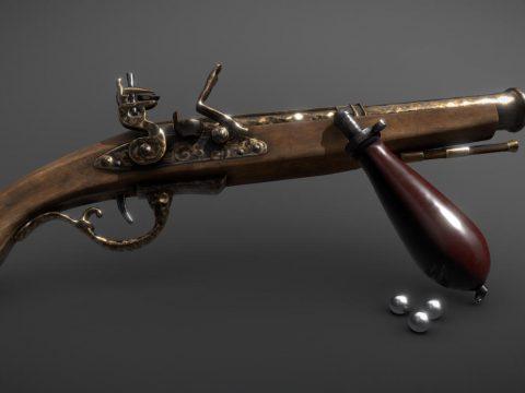 Flintlock Duelling Pistol (With Bayonet)