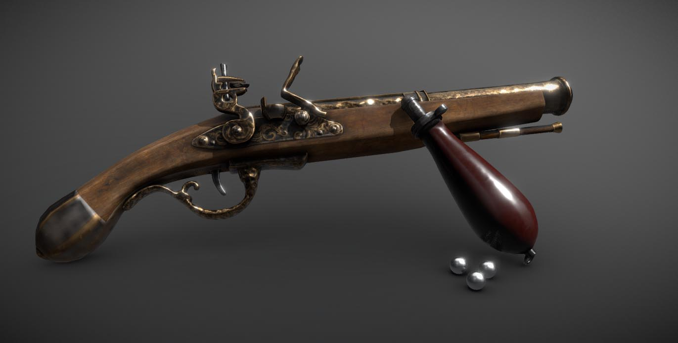 Flintlock Duelling Pistol (With Bayonet)
