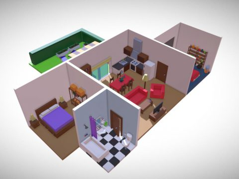 Isometric low poly house