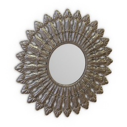 Mirror Puji Antique Silver Round 3d model
