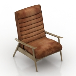 Armchair Vintage Hans Leather 3d model