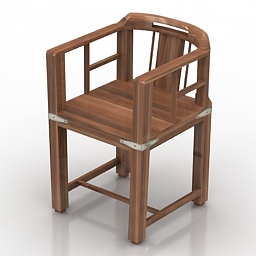 Armchair wooden 3d model
