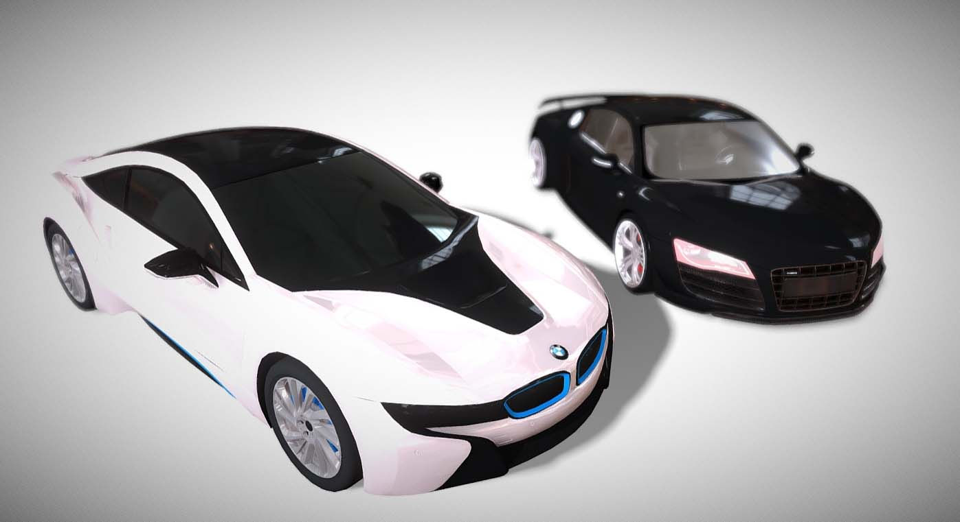 Bmw I8 And Audi R8 Lowpoly Game Ready Downloadfree3d Com