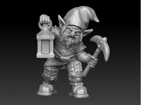 Evil gnome with pickaxe and lantern remake of PollyGrimms redhat