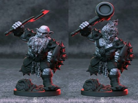 Azer with dwarf swap out head and weapon