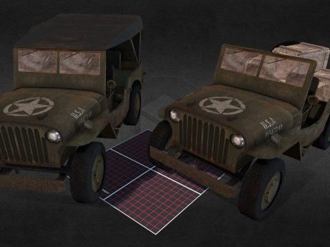 Low Poly Military Jeep - Willys MB - WW2 Scene