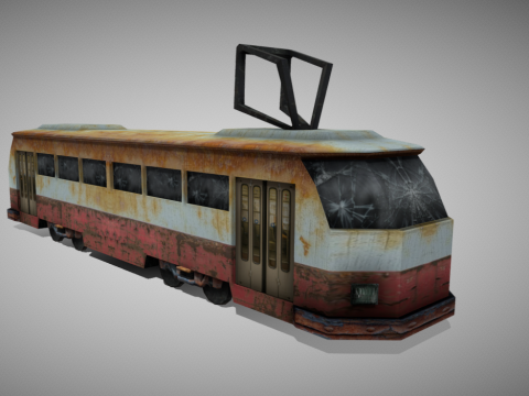 Old apocalyptic tram