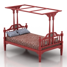Bed Peranakan Eng Indian style 3d model