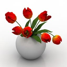 Vase tulip 3d model