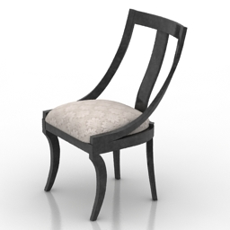 Chair Italian Black Lacquer & Moire 3d model