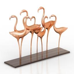 Figurine flamingo 3d model