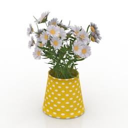 Vase chamomile 3d model