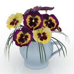 Vase flowers viola 3d model