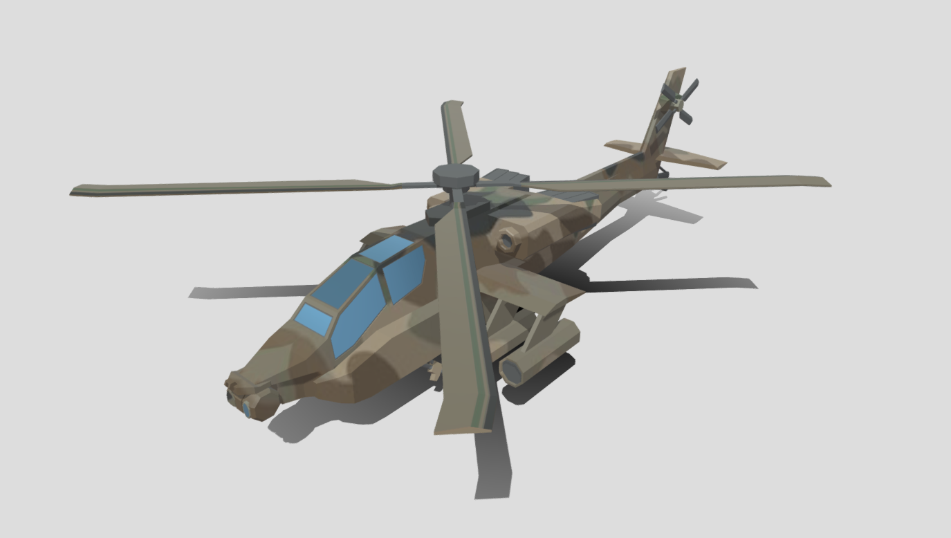 AH-64 Apache Attack Helicopter Low Poly