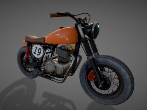 """Motorcycle - Custom Bike """"JAWA"""" (LOW-POLY)"""