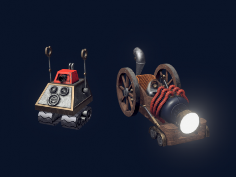 Steampunk Car and Robot