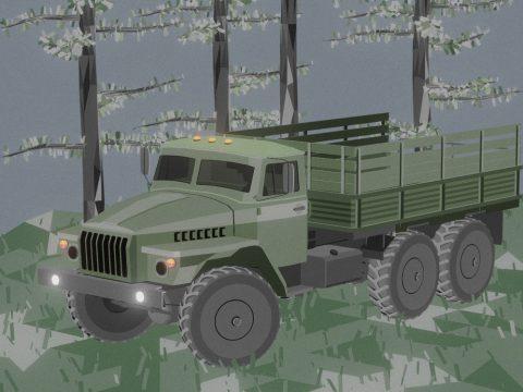 Ural Truck Diorama Low Poly