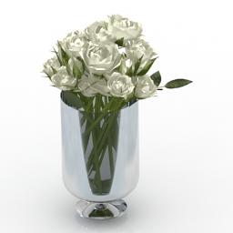 Vase White Roses 3d models