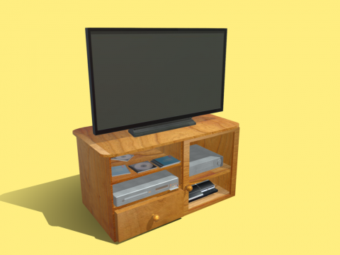 Cabinet with TV, DVD Player, VHS, PS3
