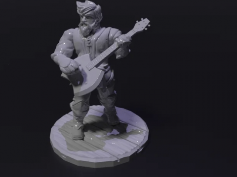 Dwarfen Bard with Guitar Axe