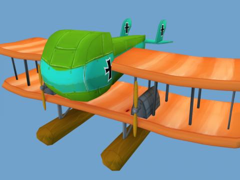 Game Art WWI Stylized Plane