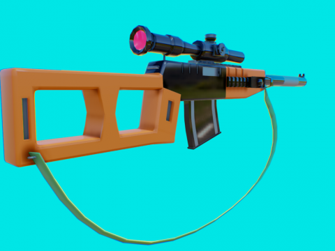 Sniper Rifle-vss (low poly )