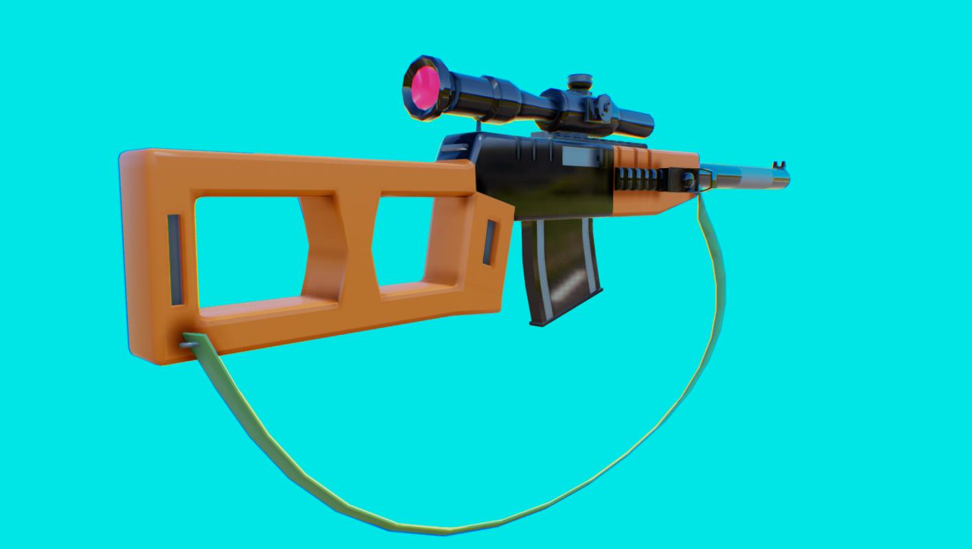 Sniper Rifle-vss (low poly )