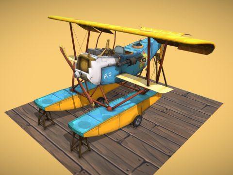 WW1 Airplane Hansa-Brandenburg W.12 Stylized