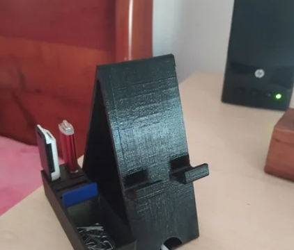 Phone stand with acessories entrance