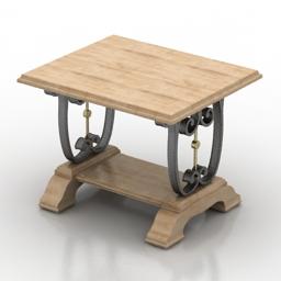 Table metal wood 3d model