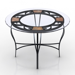 Table round glass 3d model