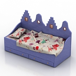 Bed Kast van een Huis Childrens 3d model