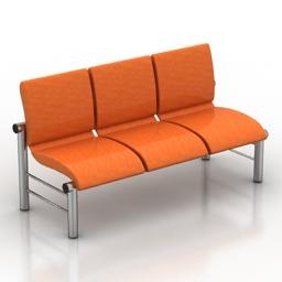 Bench red 3d model