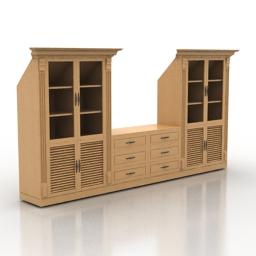 Bookcase cabinets attic 3d model