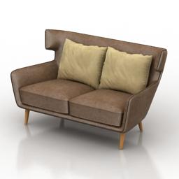 Sofa Divani Casa Stellan Modern Fabric 3d model
