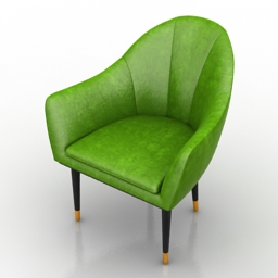 Armchair Green restaurant chair 3d model