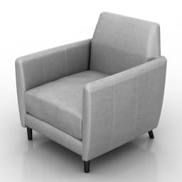 Armchair Parlour Leather Chair cb2 3d model