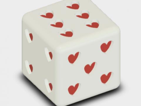 Dice D6 Hearts