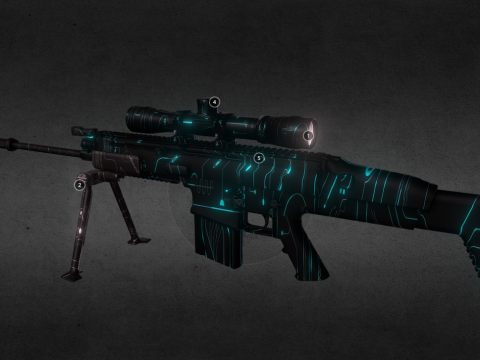 SCAR-L 15x SCOPE CYBERPUNK NEON SKIN
