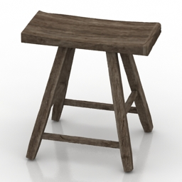 Seat old wood 3d model