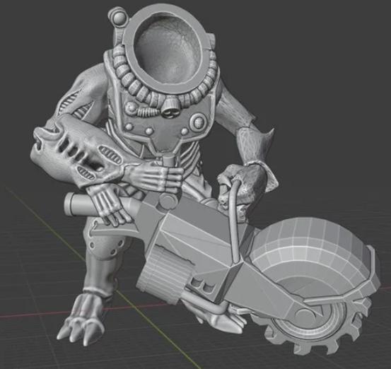 Space Denim miner son of the star prophet with Scrap Grinder