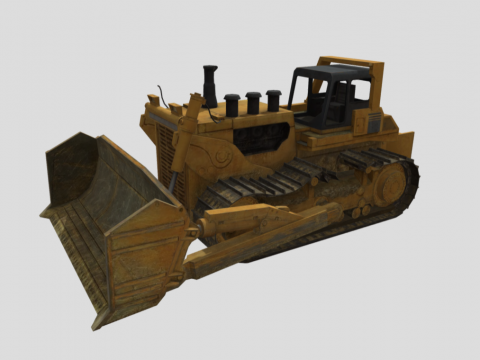Hydraulic Bulldozer with Broken Chain
