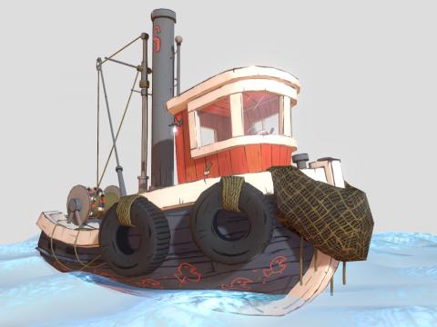 Stylized fishing boat